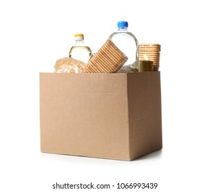 Donation box with products on white background