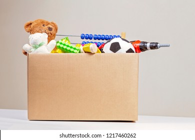 Donation box with toys, books, clothing for charity