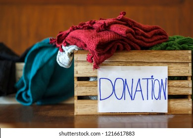 Donation boxes with clothes