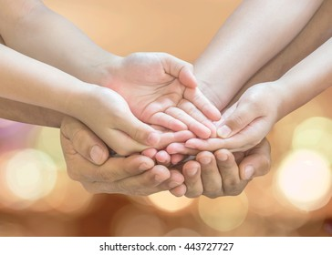 Donation charity concept with family, parent - children, empty hands praying together (isolated with clipping path) for world humanitarian aid, child caring, foster and adoption conceptual idea