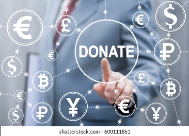 Donation money finance concept. Business man touched Donate word icon on virtual screen. Donating trading exchange and stock market, giving financial facilities.