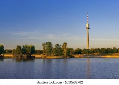 Donauturm (Danube Tower) in Vienna city, Austria