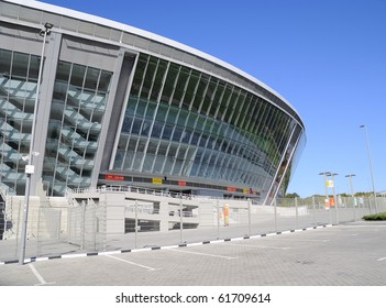 DONBASS-ARENA, DONETSK, UKRAINE - SEPT 25: Shakhtar Donetsk's new soccer stadium September 25, 2010 in Donetsk, Ukraine. It is constructed for carrying out of the championship of Euro 2012. Parking.