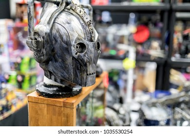 Doncaster Comic Con 11th Feruary 2018 at The Doncaster Dome. Cyberman sculture or bust from the BBC Dr Who series on display at a comic con convention