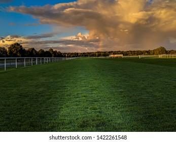 Doncaster Racecourse, Doncaster/Yorkshire, UK, April 7 2019:Doncaster Racecourse after the rain with a rainbow