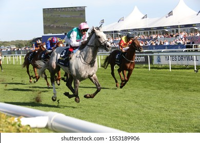 DONCASTER RACECOURSE, STH YORKSHIRE, UK : 14 SEPTEMBER 2019 : Frankie Dettori rides Logician home to win the 2019 running of the St Leger in a course record time at Doncaster