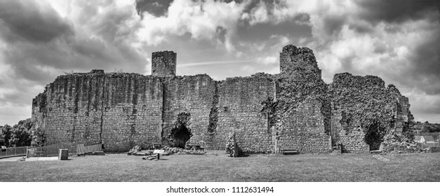 DONCASTER, SOUTH YORKSHIRE - JUNE 13, 2018: The walls. Conisbrough Castle is a medieval fortification in Conisbrough, South Yorkshire, England. The castle was initially built in the 11th century.