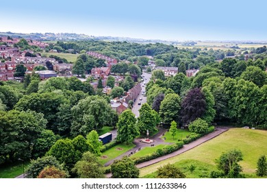 DONCASTER, SOUTH YORKSHIRE - JUNE 13, 2018: Aerial view of Conisbrough from the top of the castle keep. Conisbrough Castle is a medieval fortification in Conisbrough, South Yorkshire, England.