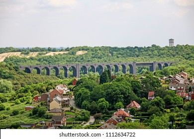 DONCASTER, SOUTH YORKSHIRE - JUNE 13, 2018: View of Conisbrough Viaduct form the castle keep. Conisbrough Castle is a medieval fortification in Conisbrough, South Yorkshire, England.