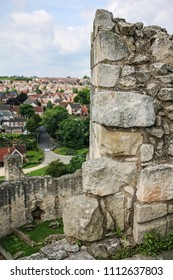 DONCASTER, SOUTH YORKSHIRE - JUNE 13, 2018: The ruined parapet walls of the keep. Conisbrough Castle is a medieval fortification in Conisbrough, South  Yorkshire, England.