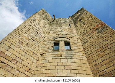 DONCASTER, SOUTH YORKSHIRE - JUNE 13, 2018: Conisbrough Castle is a medieval fortification in Conisbrough, South Yorkshire, England. The castle was initially built in the 11th century.