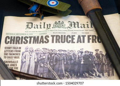 Doncaster, UK - 28th July 2019: Newspaper from Christmas WW1 showing the temporary truce. Daily Mail December 31 1914
