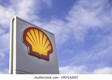 DONCASTER, UK - JANUARY 29, 2021.  A Shell branded sign at a petrol forecourt of the well known oil and petrol industry company