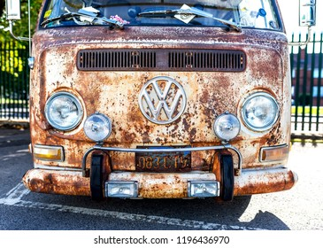 Doncaster VW Rally 23rd September 2018 at the Parklands Club and park. Classic, retro and rusty antique VW Camper van parked in a car park in Doncaster, UK