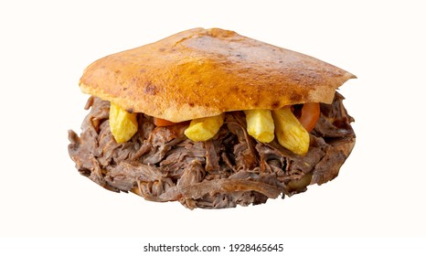 Doner in bread isolated on white background. Local name tombik döner. Turkish doner kebab isolated