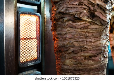 Doner Kebab on a rotating spit. A street food of Turkey.
