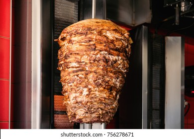 Doner Kebab On Rotating Vertical Spit