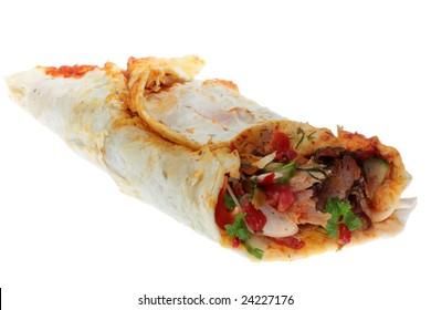 Doner kebab on a white background.
