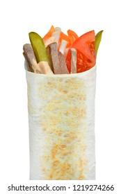 The Doner kebab (shawarma) isolated on a white background. Vertical.