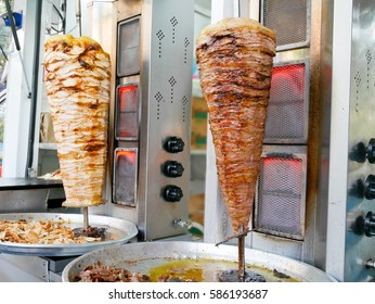 Doner kebab slowly roasted on a vertical rotating spit