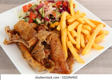 Doner with salad and fries