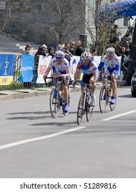 DONETSK - APRIL 18: leading four on final section of route; Popkov Vitaliy, Puzanov Dmitriy, Angeloni Adriano, Rybin Volodymyr, Grand Prix of Donetsk, group race UCI April 18, 2010 in Donetsk, Ukraine