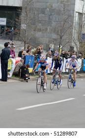 DONETSK - APRIL 18: Puzanov Dmitriy, Angeloni Adriano, Rybin Volodymyr; Grand Prix of Donetsk, group race UCIGrand Prix of Donetsk, group race UCI April 18, 2010 in Donetsk, Ukraine