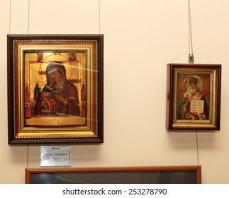 """DONETSK - FEBRUARY 16: Opening of the exhibition """"St. Luke Crimea"""" in ArtDonbass in Donetsk. February 16, 2015 in Donetsk"""