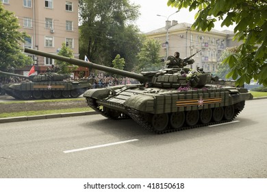 Donetsk, Donetsk People Republic, Ukraine. May 9: Armored tanks T-72 driving through the main street of the Donetsk city during Victoty Parade. 2016, May 9.