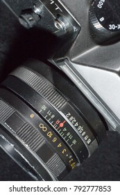Donetsk, Ukraine: 25 December 2017 - Vintage retro soviet SLR camera Zenit-ET with Helios 44-M prime lens.