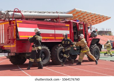 Donetsk, Ukraine - 29 April, 2017: Firefighters during the competition for professional skills