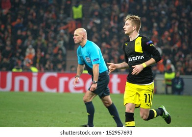 DONETSK, UKRAINE - DEC 5: Marco Reus in action in the Champions League match between Shakhtar vs Borussia Dortmund, 5 December 2013, Donbass-Arena, Donetsk, Ukraine