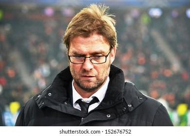 DONETSK, UKRAINE- FEB 13: Borussia Dortmund coach Jurgen Klopp before the Champions League match between Shakhtar vs Borussia (Dortmund), 13 February 2013, Donbass-Arena, Donetsk, Ukraine