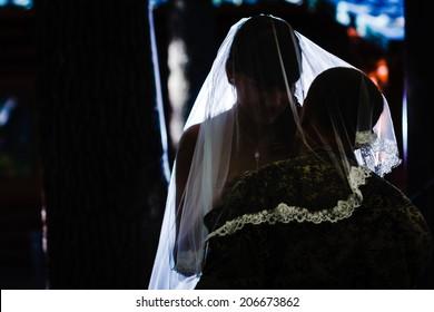 DONETSK, UKRAINE - JULY 11: Elena Kolenkina and Arsen Pavlov aka Motorola at their wedding on july 11, 2014 in Donetsk.