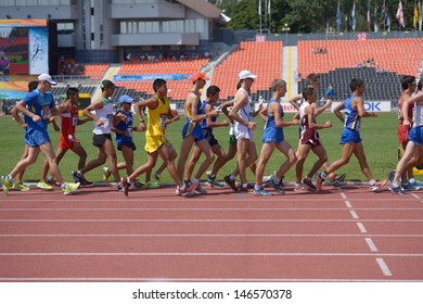 DONETSK, UKRAINE - JULY 13: Competitors in the final of 10,000 metres Race Walk during World Youth Championships in Donetsk, Ukraine on July 13, 2013