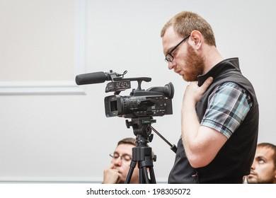 DONETSK, UKRAINE - JUNE 12: Press during Oleg Tsaryov, Alexey Zhuravlev and Alexander Borodai press conference in the Donetsk Regional State Administration on june 12, 2014 in Donetsk.