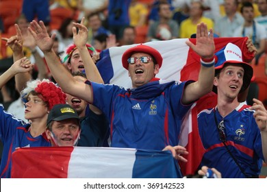 "DONETSK, UKRAINE - JUNE 15: France national football team supporters show their support during UEFA EURO 2012 on ""DONBAS ARENA"" soccer stadium in Donetsk on June 15, 2012 in Donetsk, Ukraine."