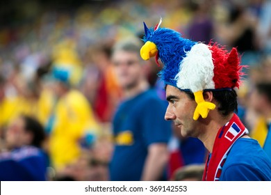 "DONETSK, UKRAINE - JUNE 15: France national football team supporters show their support during UEFA EURO 2012 on ""DONBAS ARENA"" soccer stadium in Donetsk on June 15, 2012 in Donetsk, Ukraine."