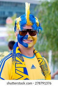 DONETSK, UKRAINE -JUNE 19, 2012: Ukrainian football fan near Donbass Arena stadium before EURO 2012  match England vs Ukraine
