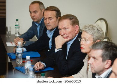 DONETSK, UKRAINE - JUNE 27: Leonid Kuchma at a press conference at the end of the second round of negotiations on june 27, 2014 in Donetsk.