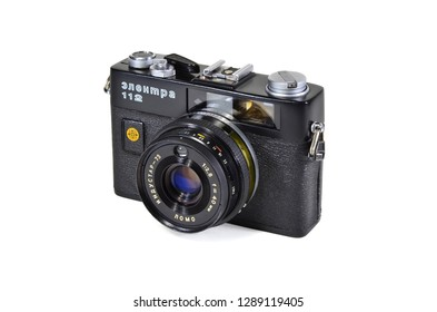 Donetsk, Ukraine - June 6, 2014: Retro camera Electra-112 - soviet small-format automatic rangefinder camera with Industar-73 lens, produced by LOMO. Isolated on white background.