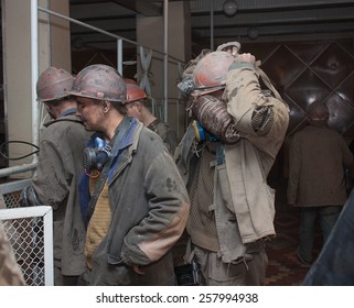 Donetsk, Ukraine - March, 25, 2013: Miners mine named after Abakumov receive personal protective equipment to work shift