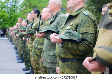 DONETSK, UKRAINE - MAY 1: Pro-Russian rebel troops at a ceremony on May 1, 2015 in Donetsk.