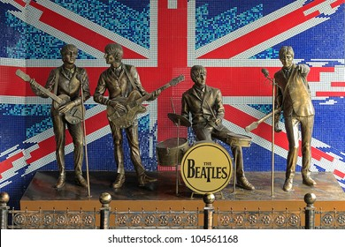 DONETSK, UKRAINE - MAY 29: Monument to The Beatles on May 29, 2012 in Donetsk, Ukraine. Monument was installed in 2006 and this is the first monument to The Beatles in the former USSR.
