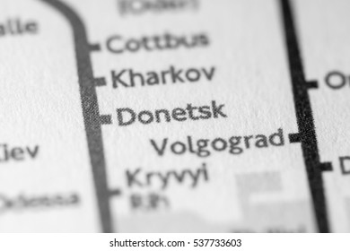 Donetsk, Ukraine on a geographical map.