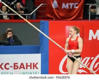 DONETSK,UKRAINE-FEB.11: Svetlana Feofanova - Russian World Champion, silver and bronze medalist of Olympic Games compete on Samsung Pole Vault Stars meeting on February 11, 2012 in Donetsk, Ukraine.