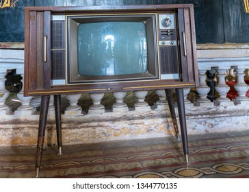Dong Thap, Vietnam - January 16th, 2019: Vintage television was produced in the 1950s and retains it today for indoor decoration of the old house in Huynh Thuy Le in Dong Thap, Vietnam