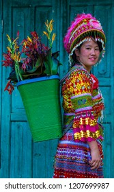 DONG VAN , VIETNAM - SEP 16 : Girl from the Hmong minority in a village near Dong Van in Vietnam on September 16 2018. The Hmong is one of the 54 ethnic groups of Vietnam