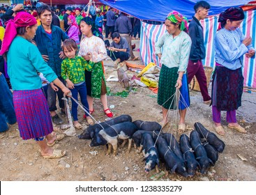 DONG VAN , VIETNAM - SEP 16 : The weekend market in Dong Van Vietnam on September 16 2018. The market is a trading place for ethnic groups from the surrounding hills