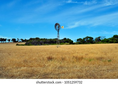 DONGARA, WA, AUSTRALIA- NOVEMBER 22: Wind wheel in rural landscape near seven mile beach, on November 22, 2017 in Dongara, Australia